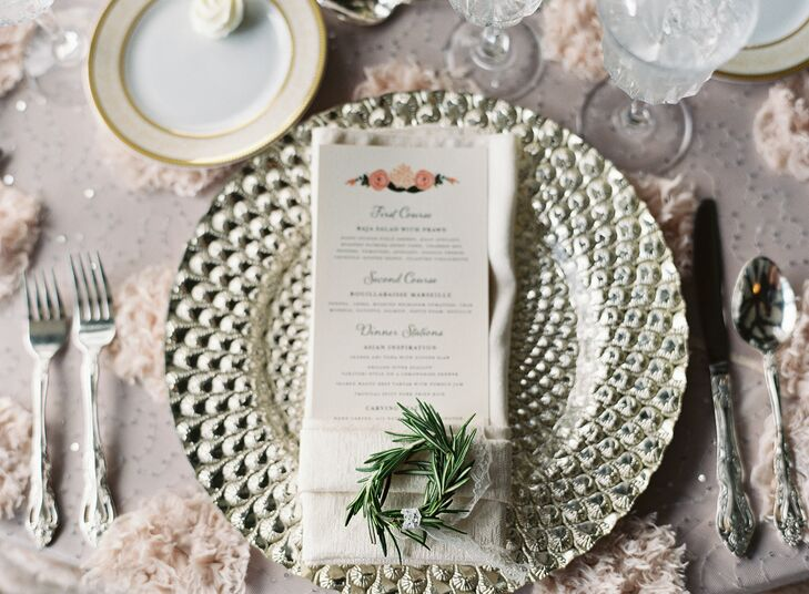 Textured Silver Charger and Ring of Greenery