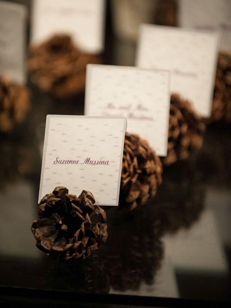 Pine cone escort cards for winter wedding