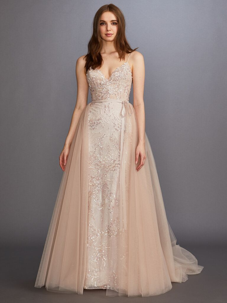 Lazaro Fall 2019 Bridal Collection blush beaded A-line wedding dress with tulle overlay