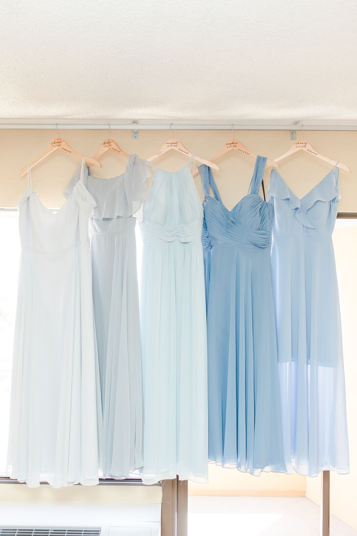 Pale-Blue, Mismatched Bridesmaid Dresses
