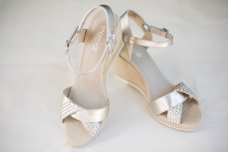 The bride's metallic Sperry wedges were a nod to the couple's subtle nautical theme, and certainly made her first-look photos on a sailboat  easier!