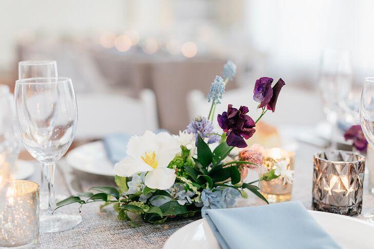 Elegant Spring Centerpiece of White Anemones, Blue Astilbes and Purple Irises
