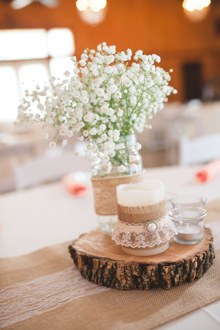 Wooden Slab Centerpiece With Burlap And Lace