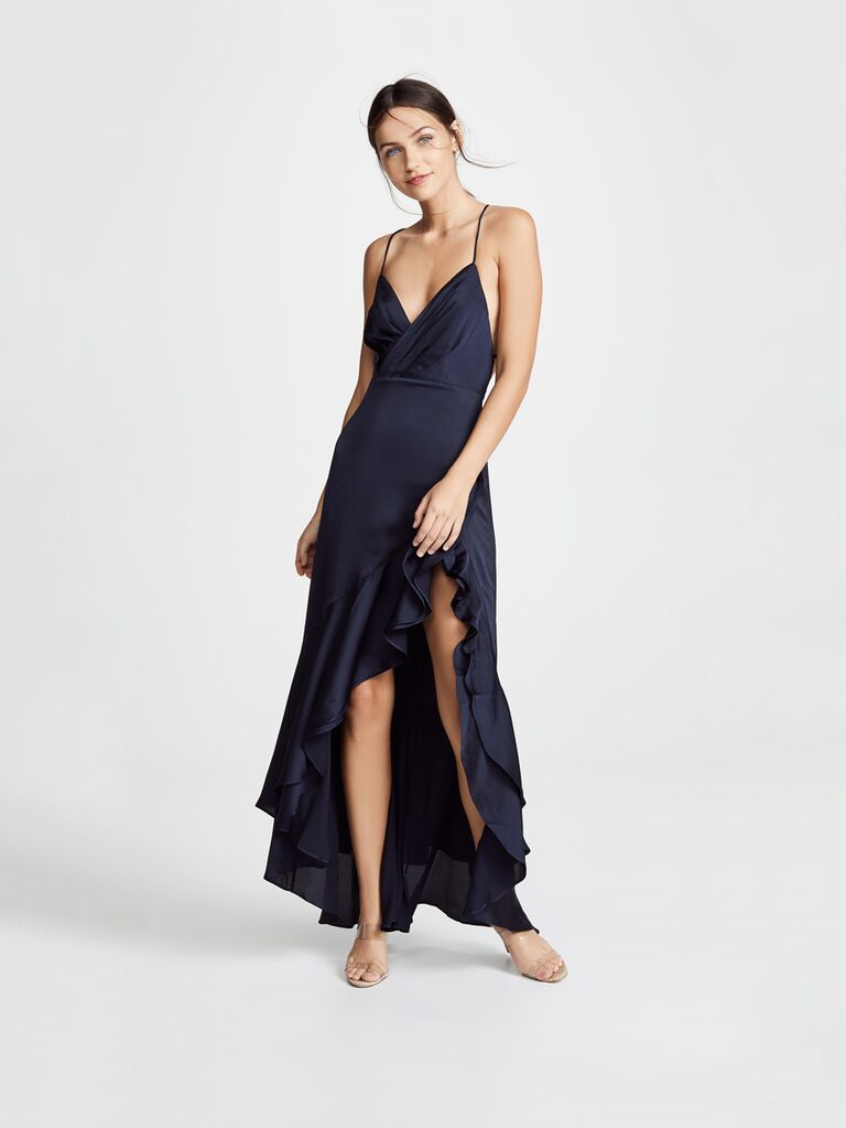 7bac3bfcbfe7 Want a flirty look for the upcoming winter wedding  This ruffled  asymmetrical hem gown should fit the bill (plus