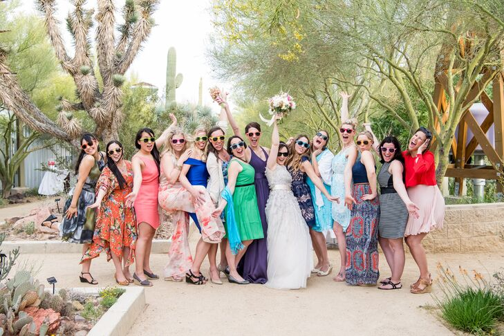 "In lieu of a traditional ""something blue"" (and in lieu of bridesmaids), Anna asked her best friends to wear something blue. Before the ceremony, she handed out personalized ""Bride's Tribe"" sunglasses as a special shout-out. ""My girls are my family,"" she says."