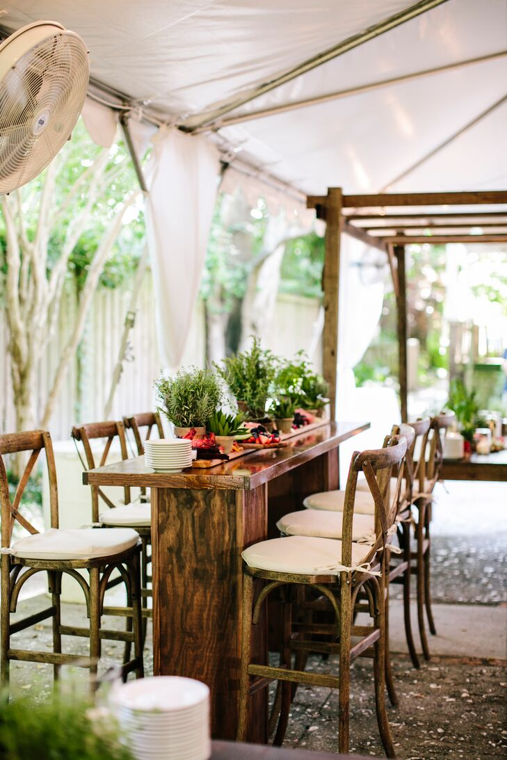 Rustic Tented Reception with Cross-Back Chairs