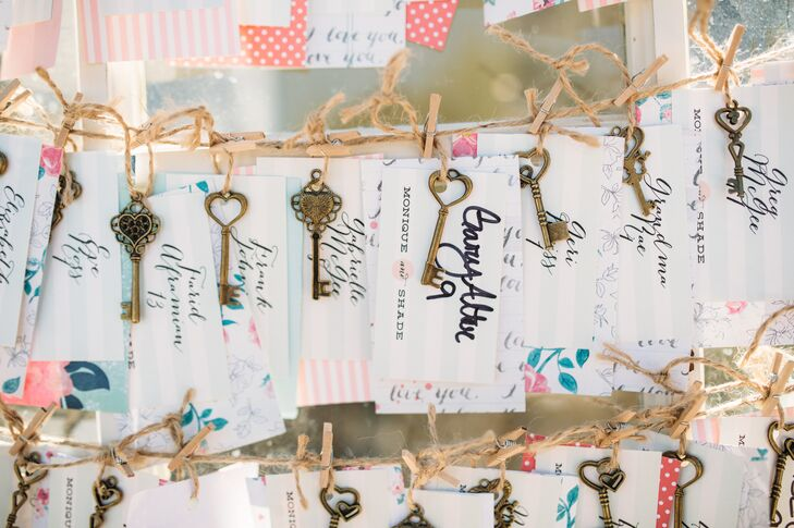White escort tags had guest names written in black cursive, with a vintage key attached to each. The cards dangled from thin rope, ready for guests to grab and find their seats with.