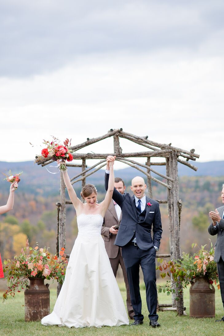 Excited Bride and Groom Recessional