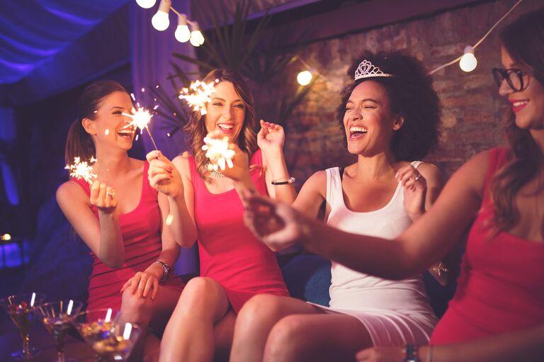 bachelorette party sparklers bride and bridesmaids