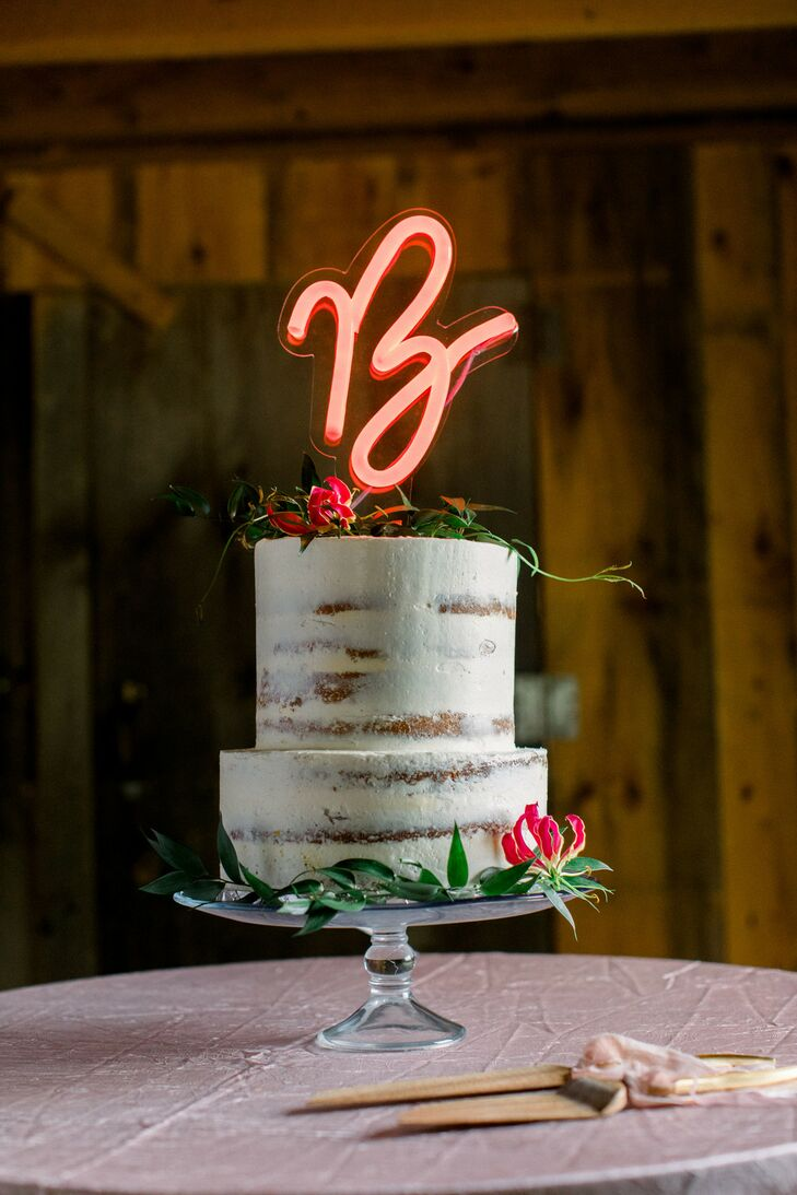 Rustic Two-Tier Semi-Naked Cake with Lighted Topper
