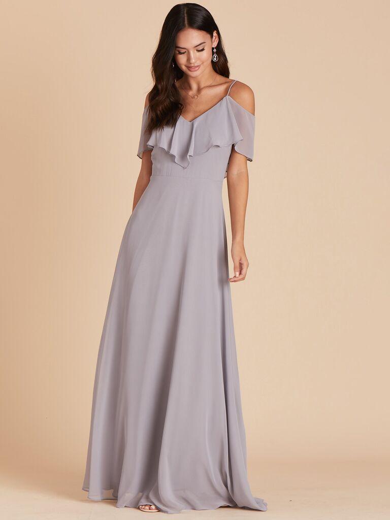 birdy grey silver winter bridesmaid dress with ruffles