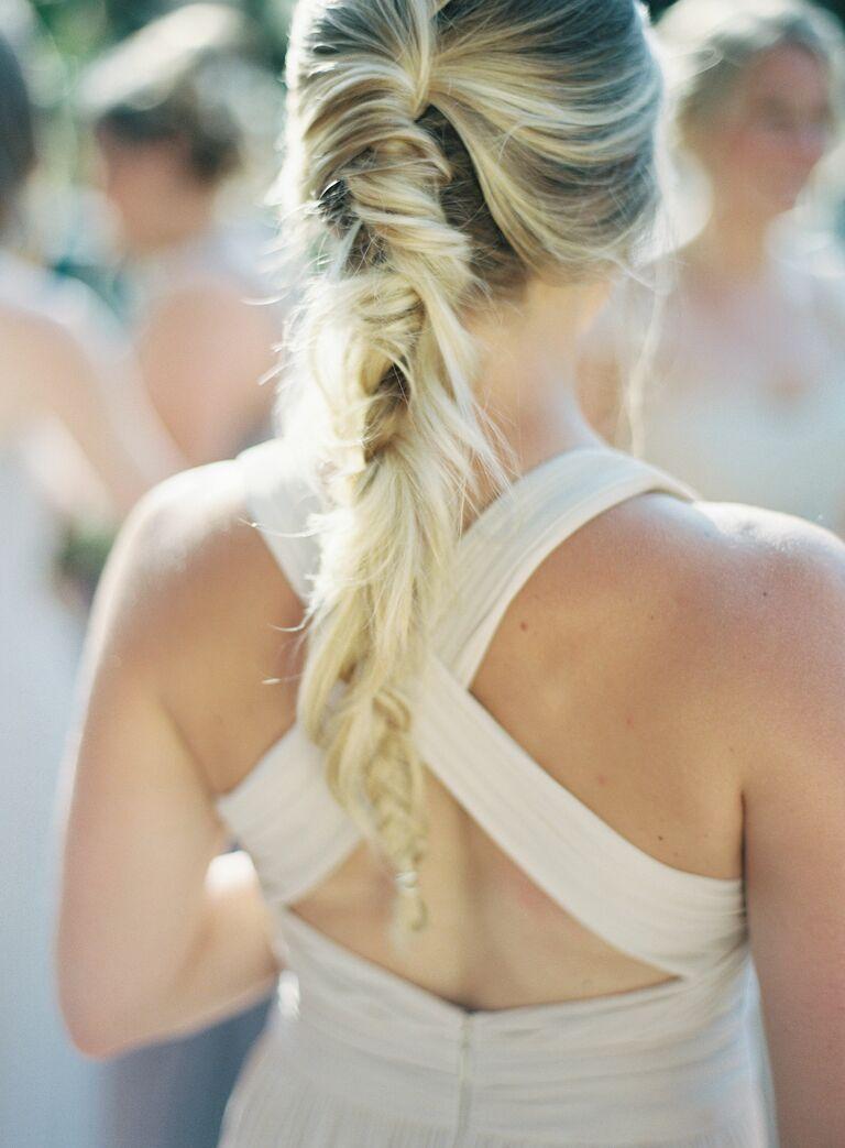 Wedding updo fishtail braid
