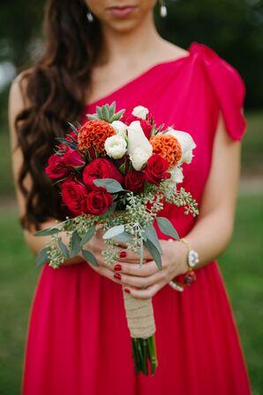 Red Rose and Orange Coxcomb Bouquet