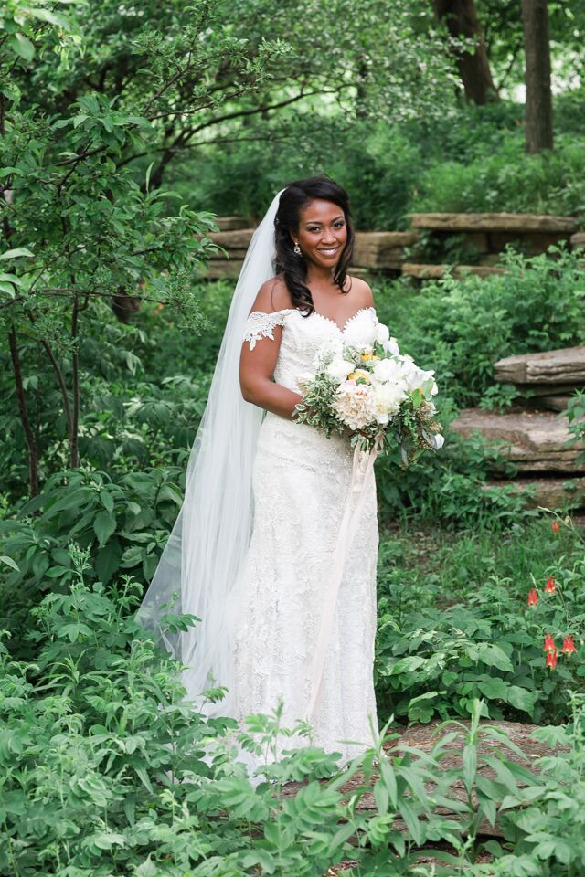 """All of Marla's favorite flowers were included in her bouquet. """"We wanted to evoke a prairie style, with varied blooms and a loose arrangement but similar in color,"""" she says. """"Our florist totally knocked it out of the park."""""""