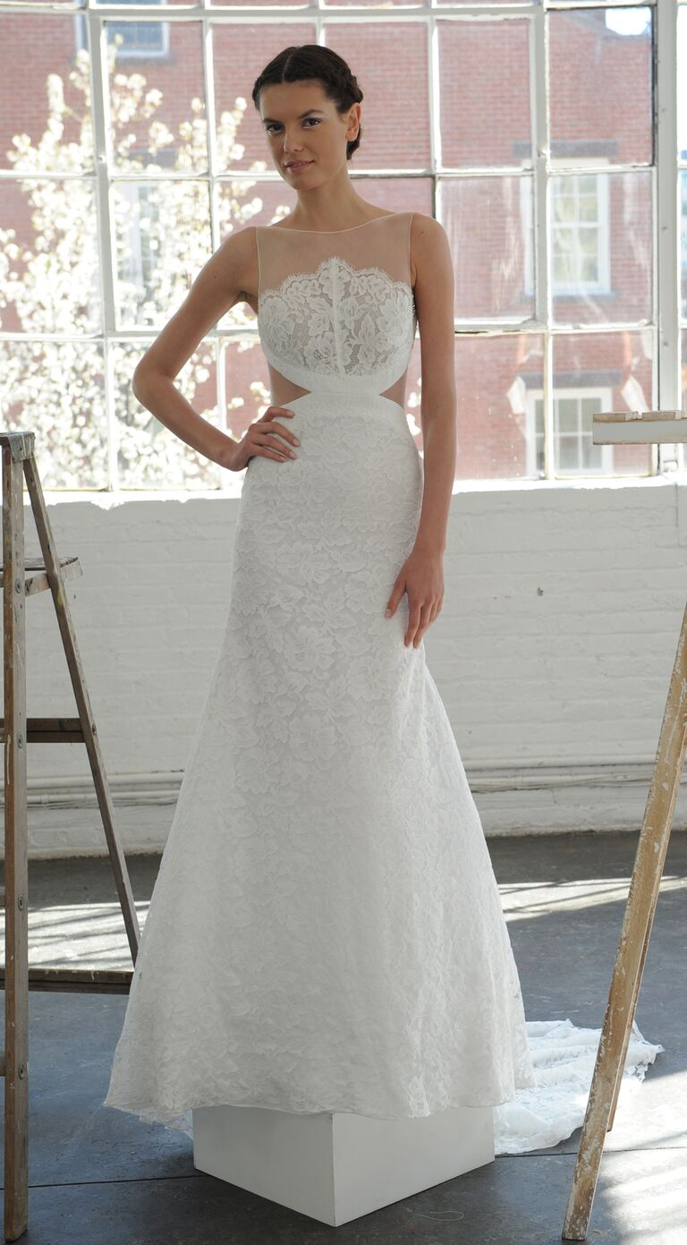 80f6c58567b Lela Rose cutout illusion neckline sexy wedding dress from Spring 2017  collection