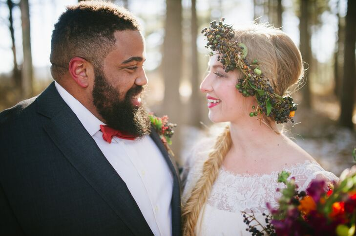 "The flower crown made with branches and leaves had accents of Viburnum dentatum berries and bright ranunculus. ""I wanted something bright and vibrant to offset the muted winter colors,"" Paula says. ""Overall, I wanted a piece with bohemian style that would stand out."""