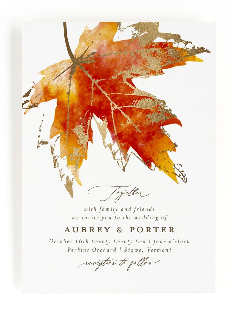 Orange leaf fall wedding invitation