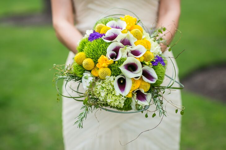 """For my bridal bouquet, I found a few inspiration photos of bouquets that I liked and placed my trust in Stemline Creative to create something that I liked,"" the bride says. ""I was over-the-moon happy with the amazing bouquet that they presented me on our wedding morning."""