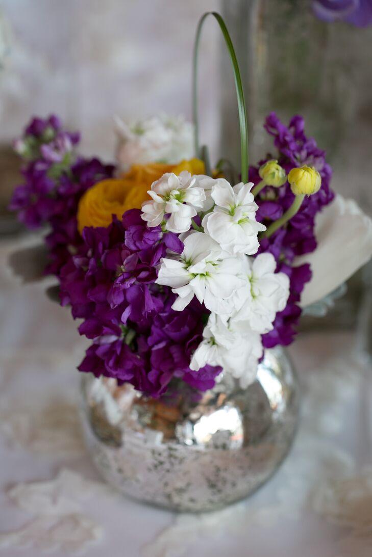 Purple and White Flower Arrangement in Silver Vase