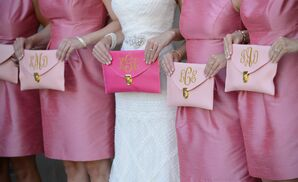 Gold Monogrammed Pink Bridesmaid Clutches