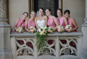 Cherry Pink Taffeta Bridesmaid Bridesmaid Dresses