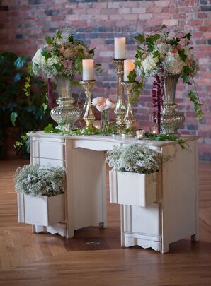 Vintage Desk Decorated with Baby's Breath Ceremony Backdrop