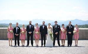 Matching Pink Alfred Sung Bridesmaid Dresses