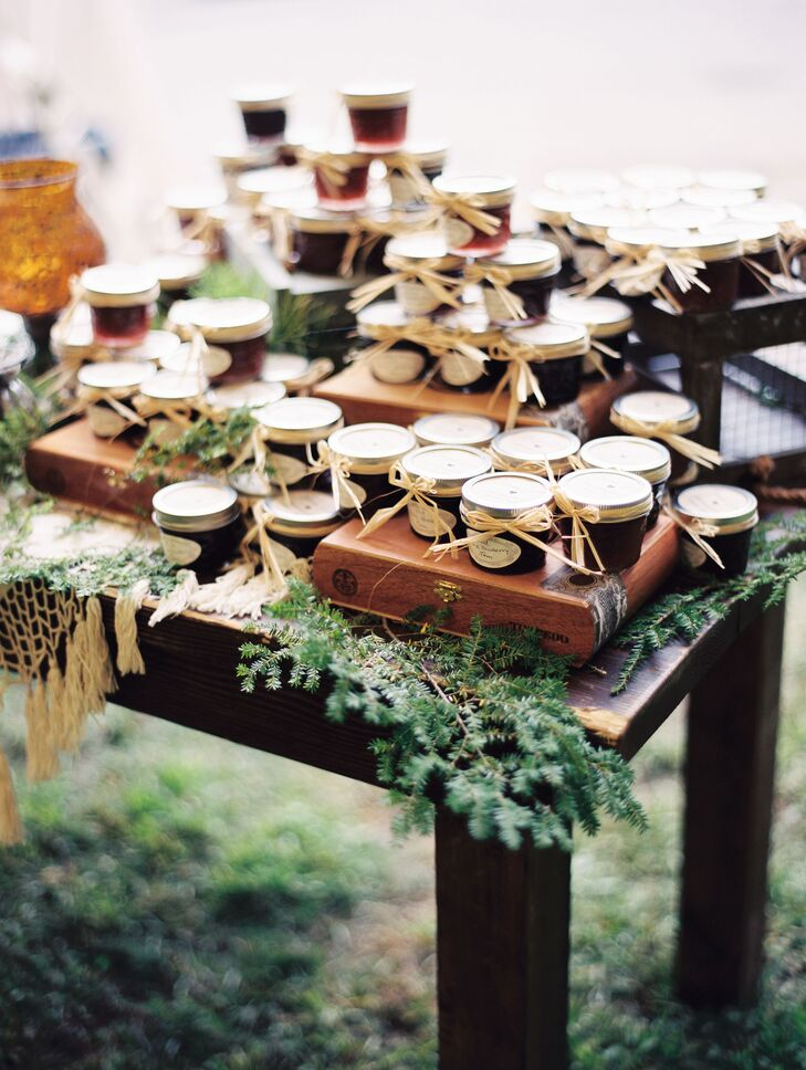 """Together with her stepmother, Jenna made homemade jams as a thank-you for the couple's friends and family members who attended the wedding. The pair made a selection of strawberry-rhubarb, blueberry and blackberry jams, which they placed in customized jars finished with raffia ribbon. """"The jams were delicious, and guests loved them,"""" Jenna says."""