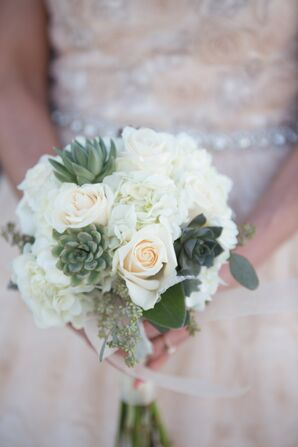 White Hydrangea and Succulent Bouquet