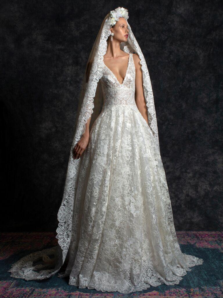 Naeem Khan Spring 2020 Bridal Collection V-neck A-line lace wedding dress