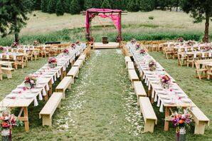 Casual Outdoor Reception with Wood Benches and Colorful Centerpieces