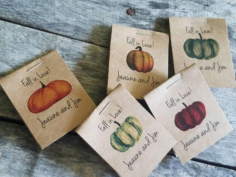 Pumpkin seed packet fall wedding favors