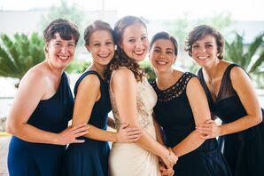 Mismatched Navy Knee Length Bridesmaids Dresses
