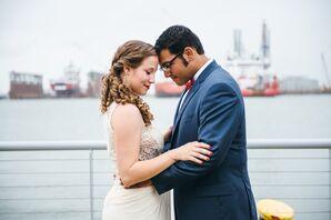 Nautical Bride and Groom at Galveston, Texas Dock