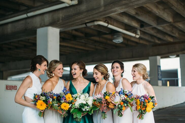 Wedding Party with Sunflower-Filled Bouquets