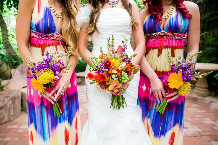 Bridesmaids In Multi Colored Dresses And Vibrant Bouquets