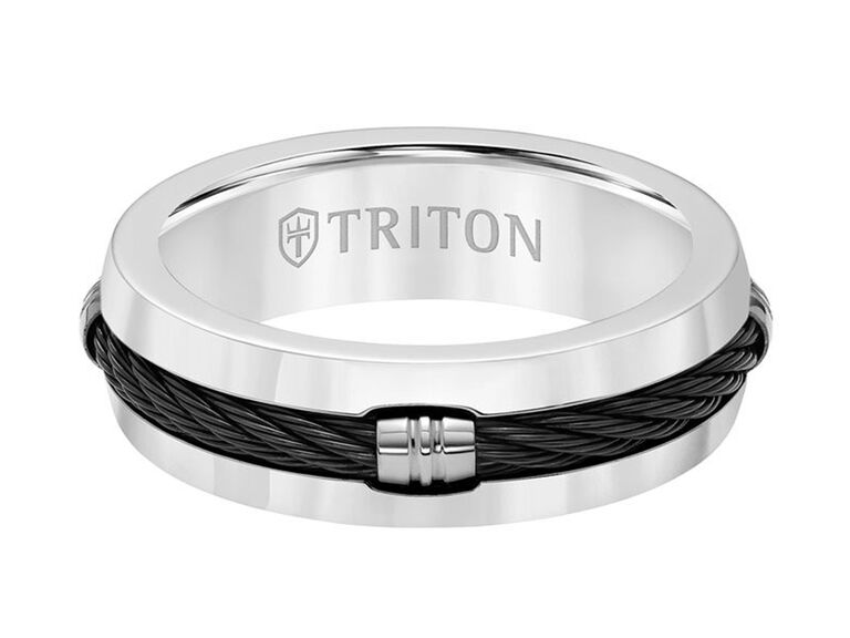 Triton titanium ring with domed cable inlay center and beveled edge