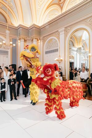 Lion Dancers During Reception at the Academy of Music in Philadelphia was Packed