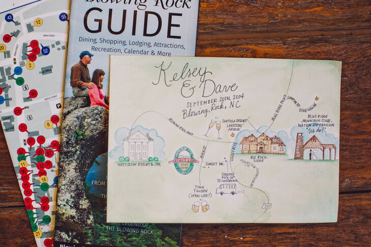 The illustrated invitations came with a map and guide to the sights at Blowing Rock.