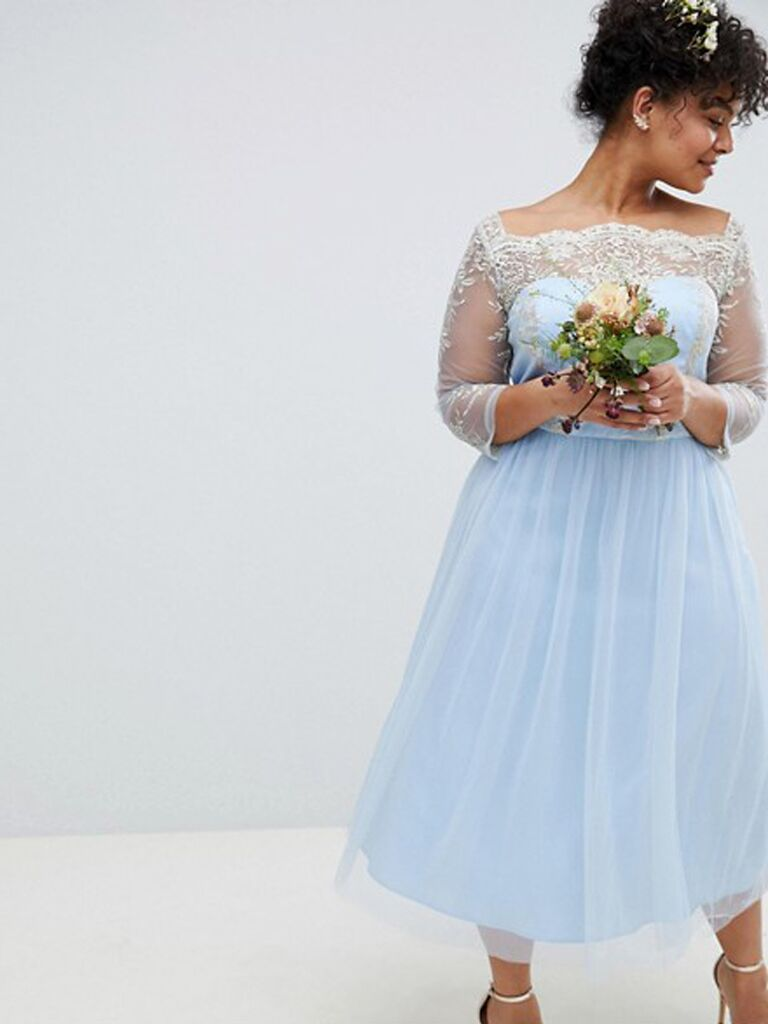 c7797dcfab9 bardot neck blue midi plus size bridesmaid dress