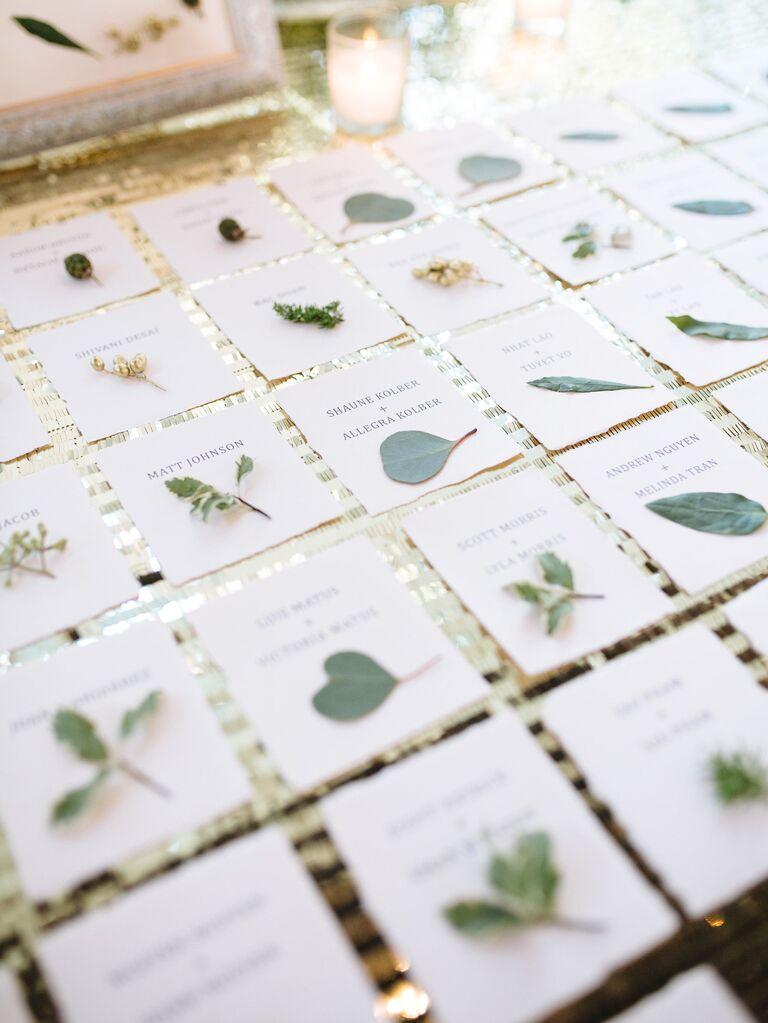 Leaf-Accented Escort Cards
