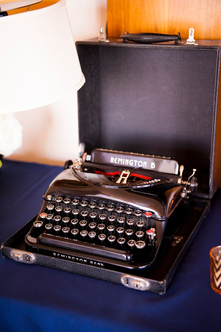 "Guests were invited to either write a handwritten message to the couple or type a message on the antique typewriter available to use at the wedding. ""A friend of mind, Jillian Schrager, bound a guest book for our wedding, with messages from our guests written by pen or antique typewriter,"" says Alastair."