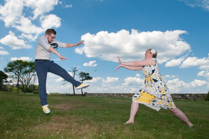 Sarah Marie Studios took fun, geeky photos of the couple at Odiorne State Park, like this photo of Jen performing a classic Street Fighter move on Jacob.