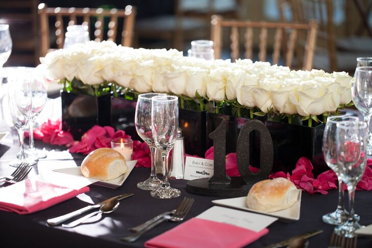 Black Table Number with White Rose Centerpiece