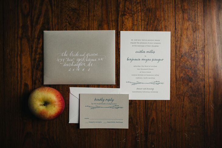 Simple Navy Script and Branch Motif Invitations
