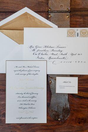 Traditional, Formal Gold Wedding Invitations