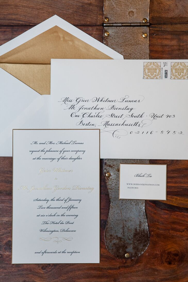 Traditional, Formal Gold Wedding Invitations