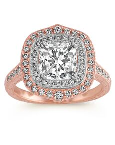 Shane Co. Vintage Princess, Cushion, Round Cut Engagement Ring