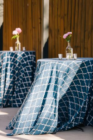 Patterned Blue and White Linens