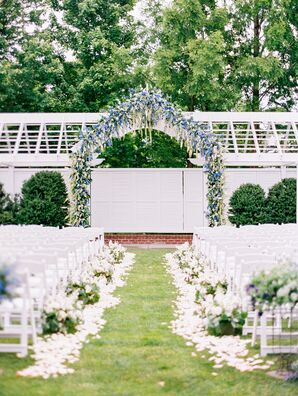 Garden Ceremony with Floral Aisle Runner and Arch